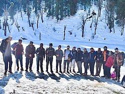 Happy faces at Juda ka taal campsite in Kedarkantha Trek ..