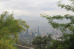 The tallest building in Santiago viewed from Cerro San Cristobal