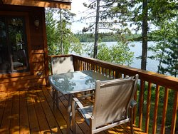 What a view from the sundeck of the Point Vacation Home Cabin.