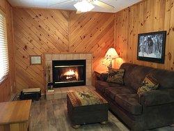 Lovely living room in lakefront, one bedroom Birchcliff Villa.
