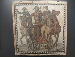 Roman mosaic of chariot race quadriga, 3rd Century, Museo Arqueologico Nacional, Madrid, Spain