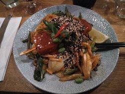 The smoky tofu with singaporean noodles