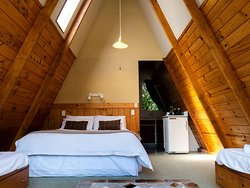 Our A frame chalets has full kitchen facilites and private toilettes