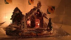Here we made a ginger bread Christmas house   100% eatable