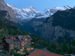 View of the hotel while coming from the Wengen train station