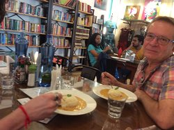 Relaxed atmosphere. Delicious curry, books to read, beautiful clothes designed by young people