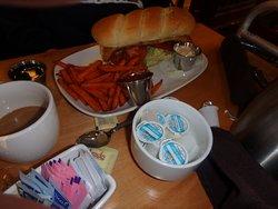walleye hoagie with sweet potato fries