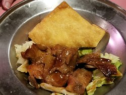 one of the crab Rangoon and BBQ pork