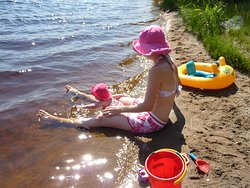 Sand and water: perfect for little ones.  South Beach at River Point.