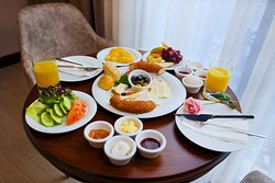 Breakfast service in the room.