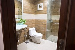 En-suite bathroom which includes all the amnesties and is similar for all room types.