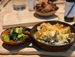 Fish pie and spring greens