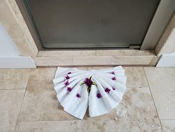 The bathmat decorated with bougainvillea