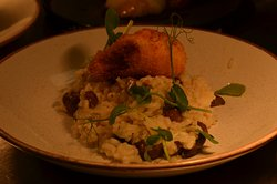 New Forest Wild mushroom Risotto with parmesan, watercress and crispy poached egg