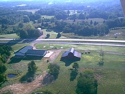 Aerial view of the National Stars and Stripes Museum/Library grounds.