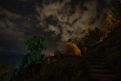 Geodesic domes under the starry night sky