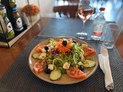 Greek Salad with a glass of Rose Wine at Viva!