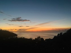 Sunset view from dining room table at Casa de Frutas