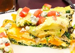 Layers of goodness inside the Spring Spinach Omelette