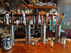 Beer pumps at Linda's Tavern.