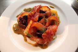 Cured salmon gravlax- beetroot relish - blood orange