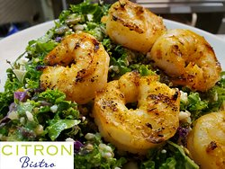 You can add grilled shrimp to any of our salads.