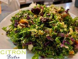 Kale Salad Shaved Kale, Queso Fresco,Butternut Squash, Quinoa, Dried Cherries, Pumpkin Seeds, Sherry Shallot Vinaigrette