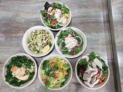 Salads with over 50 items to choose, homemade dressings, great service.....