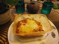 Wonderful lasagne and Chips, delivered straight to my b & b!