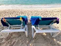 Beach beds supplied free by the hotel on the beach
