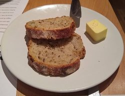 Pumpkin and fennel seed bread and salted butter.