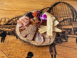 Charcuterie, (homemade cheesehead, smoked beef tongue, prosciutto San Daniele)