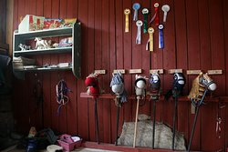 We have a stable for hobby horses. This is a Finnish speciality! Näkymä keppihevostalliimme. Keppihevoset ovat erityisesti Suomessa suosittuja!