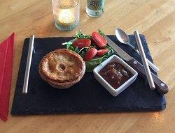 Superb freshly made Pork & Black Pudding pie.