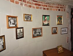 Framed Pictures on Basement Wall