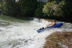 Packrafting over small falls