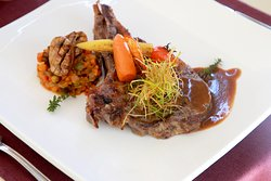 Rib Eye steak with ratatouille vegetables and pepper sauce Opera Cafe. Location: 1st floor, 24/7