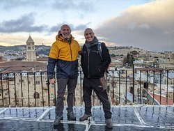 That's Yoav on the right, taking us to one of his many secret rooftops in Old Jerusalem.