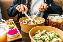 Falafel Bowl + Fried Cauliflower with BiBi's Signature Iced Tea
