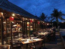 The beautiful lit Sunset Beach Restaurant