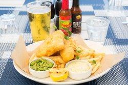 Fish & chips, mushy peas, tartar sauce, French fries GF
