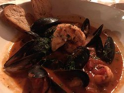 Cioppino - lobster, shrimp, and mussels in a tomato sauce - delicious!