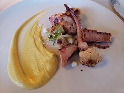 Grilled Spanish Octopus (app) with saffron cauliflower puree, brown butter cauliflower, sherry vinaigrette.