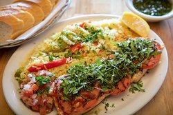 salmon pampas(tomatoes, garlic and basil on top)