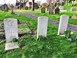 22.  St Bartholomew's Church, Burwash, East Sussex;  the Coomonwealth War Graves of Boy R N WS Landgridge, Private C Pennell and Private J Lingham