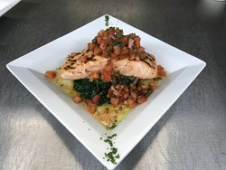 Salmon with Sicilian Salsa from our Entree Menu