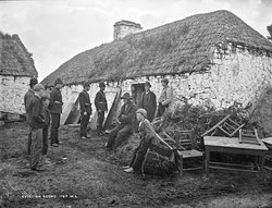 Michael Connell, Moyasta, Co. Clare after eviction. State policy required landlords to bear a significant share of the 'poor rates' and to provide local employment. Perhaps a third of landlords endeavoured to meet their obligations, less than one-third were too indebted to do so, and more than one-third ruthlessly exploited the famine to get rid of their poor tenantry.
