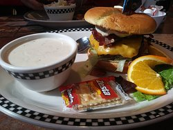 Cheese and Bacon burger with clam chowder (Fridays only?) as a side.