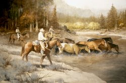 """""""The Last Crossing Till Home"""" Original Oil Painting by Howard Rogers"""