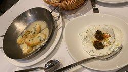 Ouzo Flamed Haloumi Cheese  and Tzatziki
